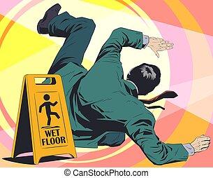 illustration., segno., floor., cadute, avvertimento, bagnato, uomo, casato