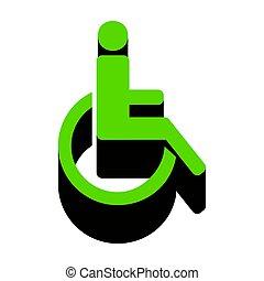 illustration., segno, invalido, verde, vector., sid, nero, 3d, icona