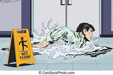 illustration., segno., uomo affari, floor., avvertimento, bagnato, nuoto, casato