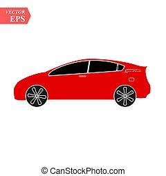 illustration., semplice, automobile, isolato, segno, vettore, fronte, logotipo, icon., rosso