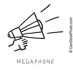 illustration., semplice, mano, megafono, vettore, presa a terra, linea