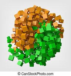 illustration., senderos, vector, yang de ying, cubo, símbolo., estilo, girar, coloreado, diferente, 3d