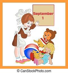 Illustration (September 1st) in frame, girl schoolgirl first class, cartoon on white background.