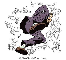 illustration., ser, free., ventana., se estropea, saltos, hombre, acción