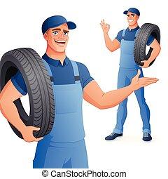 illustration., service, auto, tire., vektor, mechaniker, besitz, mann, auto