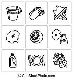 illustration., service, icônes, set., vecteur, nettoyage