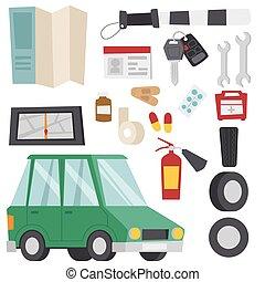 illustration., servicio, coche, símbolo, vehículo, conductor, equipo, vector, automovilista, automóvil, herramientas, transporte, icono