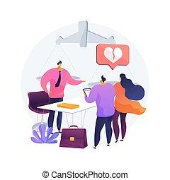illustration., servicio, vector, resumen, abogado, concepto, divorcio