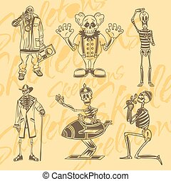 illustration., set., -, ベクトル, vinyl-ready, スケルトン, clowns.