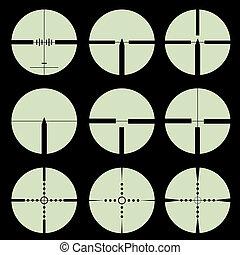 illustration., set., 十字照準線, vector, ターゲット