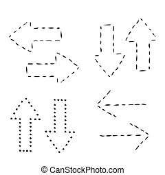 illustration., set., 印, ベクトル, 矢アイコン