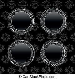 set aluminum medallion, design elements - Illustration set...