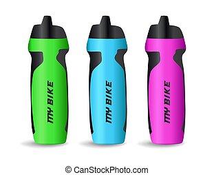 illustration., set, apparecchiatura, colorito, bottiglie, isolato, acqua, icona, plastica, sfondo bianco, bicicletta, vettore, sport