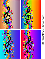set background with note and rainbow - illustration set...