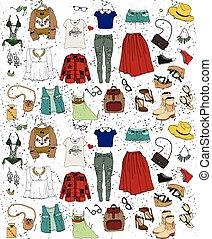 illustration, set., beklädnad, mode