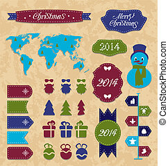 Illustration set Christmas Infographic design elements, group label and ribbon - vector