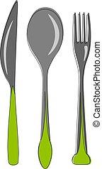 illustration., set, coltelleria, colorare, vettore, o