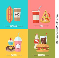 set fast food and drink, flat colorful simple icons