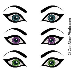 set female eyes isolated