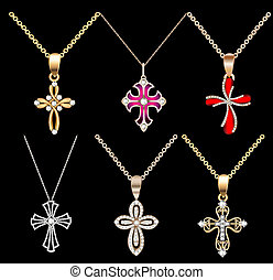 set gold cross pendant with gems - Illustration set gold...