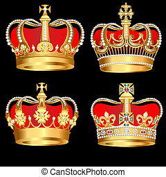 set gold crowns on black background - illustration set gold...
