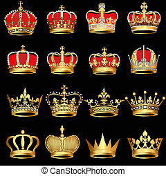 set gold crowns on black background - illustration set gold...