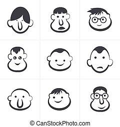 illustration., set., gyermekek, vektor, nevető, faces.