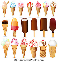 set ice cream on white background - illustration set ice...