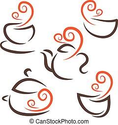 Illustration set icon of cup, teapot, pot, bowls. Vector