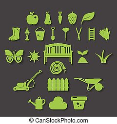 Illustration set icon of garden. Vector