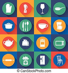 Illustration set icon of kitchen in flat design. Vector