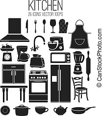 Illustration set icon of kitchen. Vector
