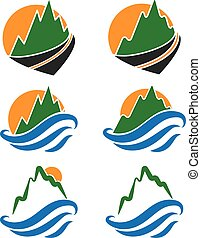Illustration set icon of mountains, waves and sun. Vector