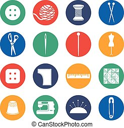Illustration set icon of sewing in flat design .Vector
