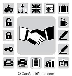 illustration, set., kontor, affärsverksamhet ikon