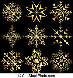 set large gold snowflakes