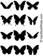 Illustration set of 12 butterflies.