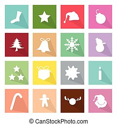 Illustration Set of 16 Merry Christmas Icons