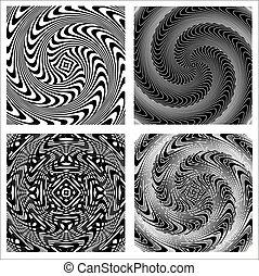 set of backgrounds illusion black and white - illustration...