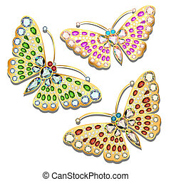 illustration set of brooches golden butterfly with precious stones