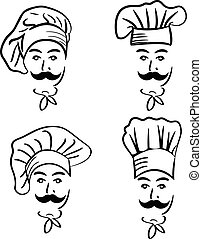 Illustration set of chef in hat. Vector