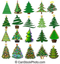 Illustration set of Christmas and New Year trees with toys and gifts.