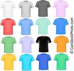Illustration set of colorful knitted shirts on a white background