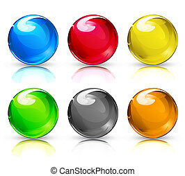 Glass balls - illustration set of colouful refracting Glass...