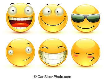 Emoticons - illustration set of cool glossy Single Emoticons