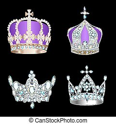 set of crowns with precious stones and pearls