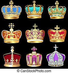 illustration set of crowns with precious stones