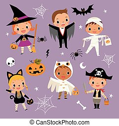 illustration set of cute happy cartoon children in colorful halloween costumes.