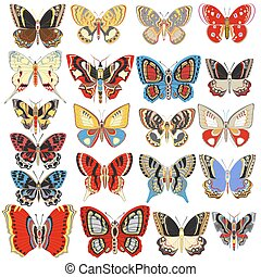 Illustration set of decorative butterflies on a white background