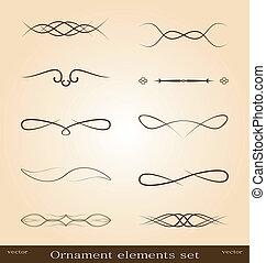Illustration set of decorative ornate design elements